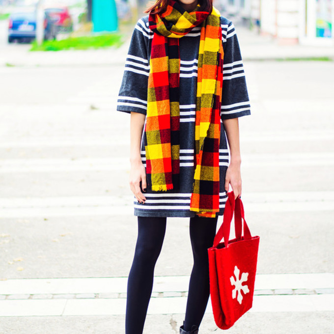 red scarf bag yellow flannel scarf blogger beauty insanity pom pom beanie tote bag striped dress drmartens scarf red
