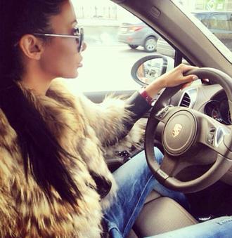 fur coat jacket sunglasses car driving cayenne luxury woman brunette hairstyles fur jacket fur porsche pants