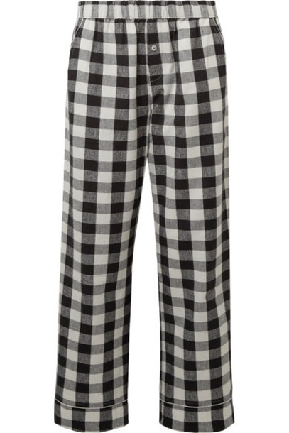 Skin pants pajama pants cotton black flannel