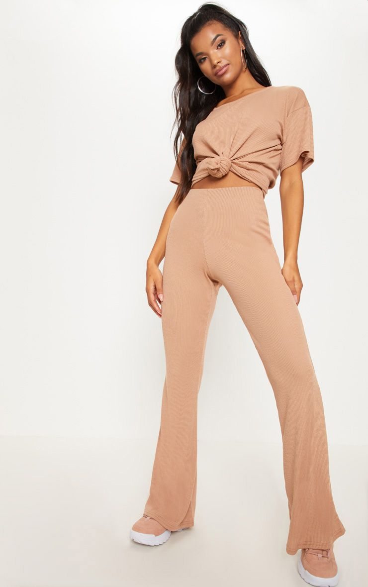 Camel Knitted Flared Trouser