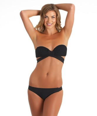 swimwear bandeau cross black two-piece black two piece bikini beach summer spring backless hot women trendy new sexy gorgeous