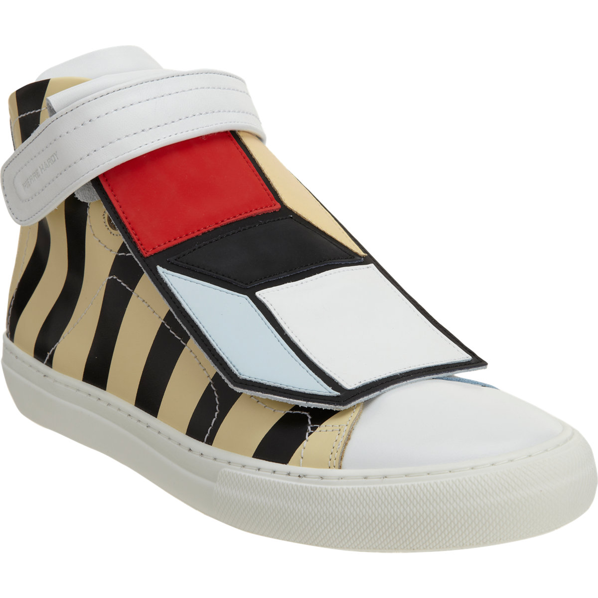 Pierre hardy striped mid top sneaker with colorblock cube panel at barneys.com