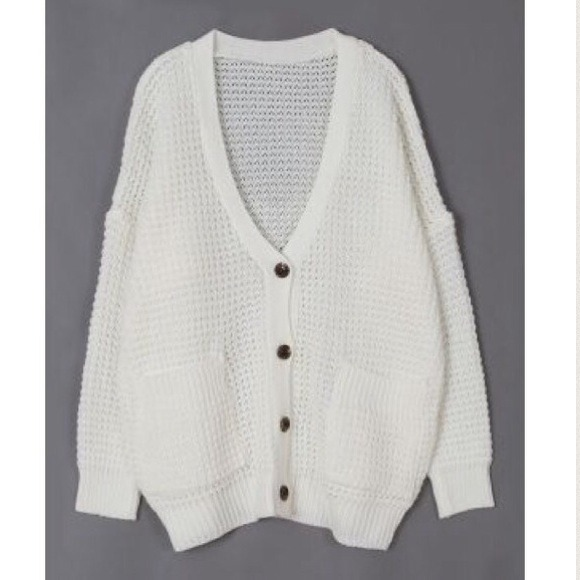 17% off  Sweaters - Ivory Chunky Oversized Waffle Knit Cardigan from !   ruth's closet on Poshmark