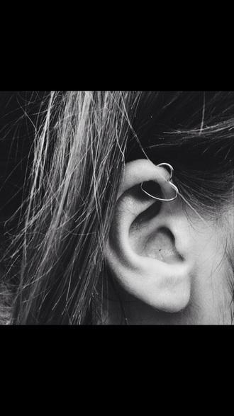 jewels silver ear piercings heart heart earrings love helix earrings helix piercing helix ring