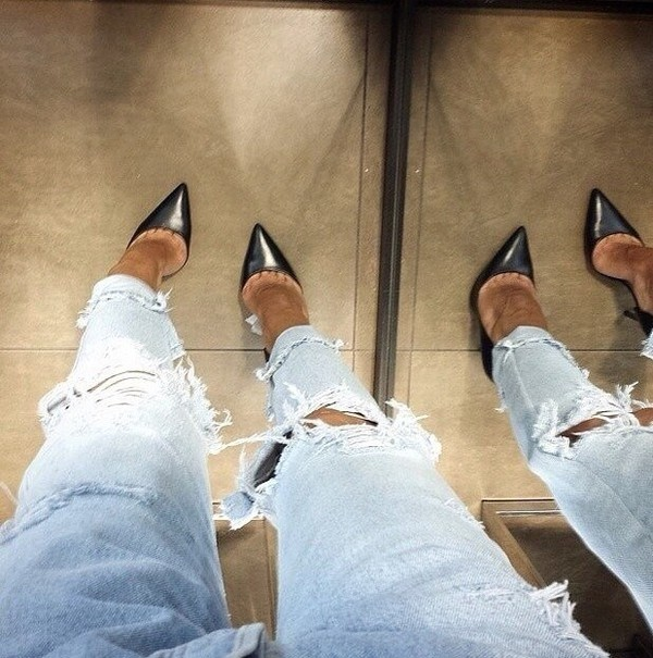 jeans heels denim clothes shoes black shoes fall outfits