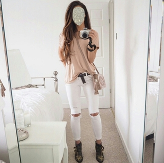 jeans white jeans knee hole jeans salmon on point clothing cute girly top