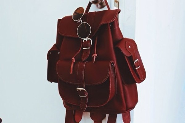 bag vintage red straps leather nail accessories