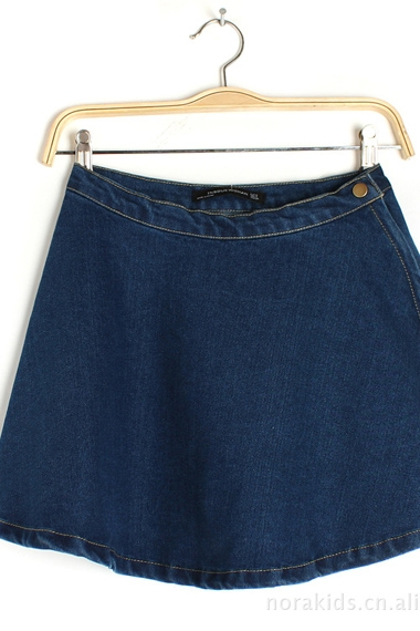 Korean Style Blue Concise High Waist Denim Skirt