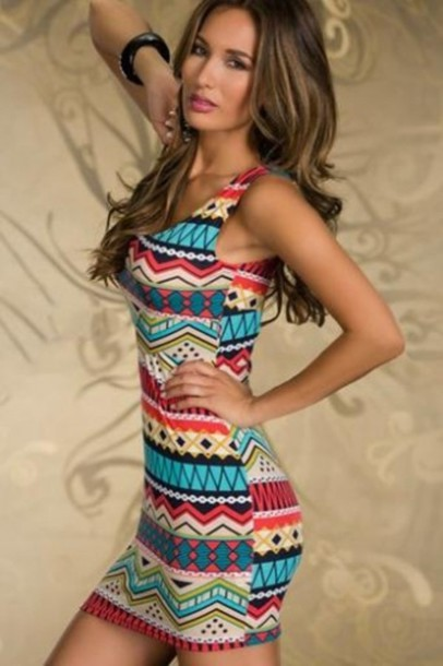 dress sexy dress casual dress aztec dress tribal pattern multicolor