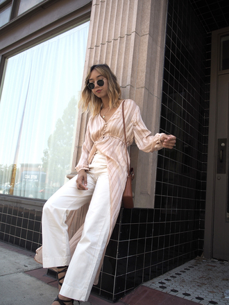 dress tumblr nude dress pants white pants wide-leg pants sandals sandal heels long sleeves long sleeve dress bag shoes