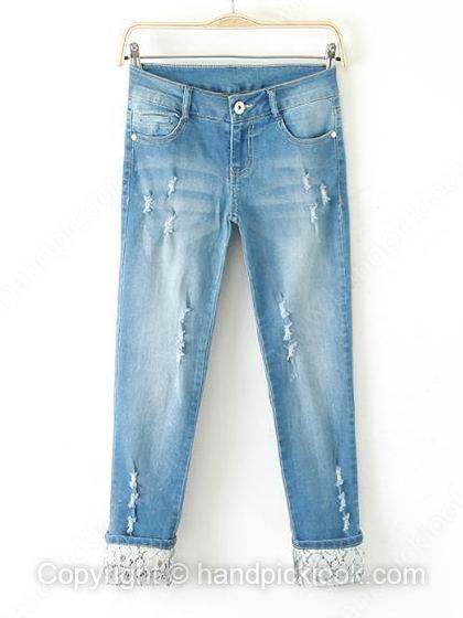 Light Blue Button Fly Bleached Ripped Jeans - HandpickLook.com
