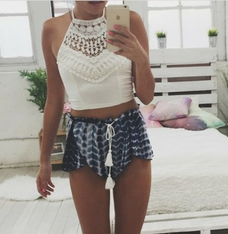 tank top shirt white lace cropped crop chrochet crop tops crochet crop top crochet shorts tie dye blue navy summer coachella music festival