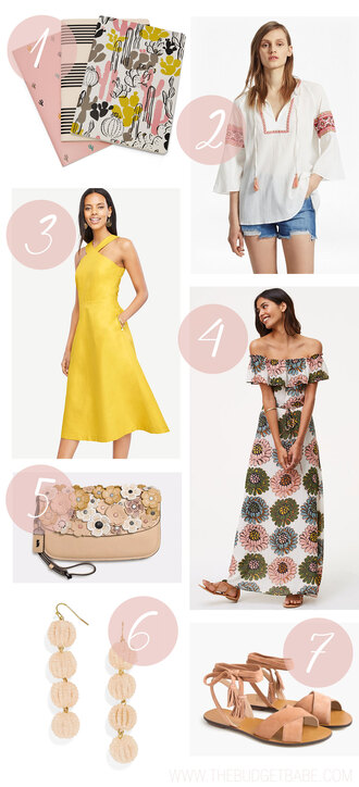thebudgetbabe blogger top dress bag jewels shoes yellow dress maxi dress midi dress spring outfits flats