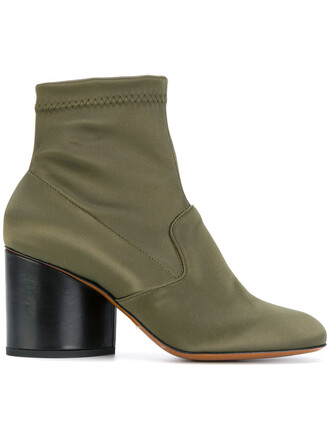 women spandex boots ankle boots leather green shoes