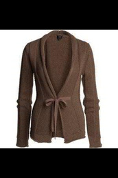 sweater,knitwear,pull,pullover,brown,bow,long sleeves,vest,jacket,gilet