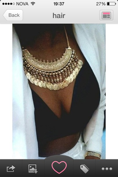 jewels jacket white blazer white blazer skirt white skirt white pants top bra bralette crop tops necklace gold gold necklace big necklace bling coin necklace