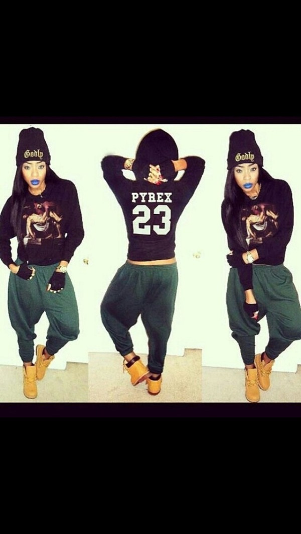 shirt pyrex black long sleeves pants hat