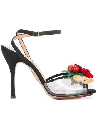 women plastic sandals floral leather black shoes