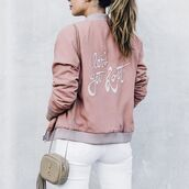 jacket,tumblr outfit,pink jacket,satin bomber,pink bomber jacket,bomber jacket,embroidered,bag,nude bag,jeans,white jeans,tumblr,quote on it