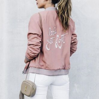 jacket tumblr outfit pink jacket satin bomber pink bomber jacket bomber jacket embroidered bag nude bag jeans white jeans tumblr quote on it