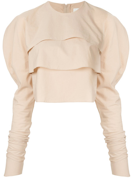 Lemaire blouse cropped women cotton brown top
