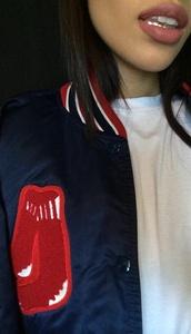 jacket,make-up,lipstick,veste coll?ge,college,high school style,red,black,white