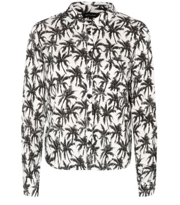 Monochrome Long Sleeve Palm Tree Print Boxy Shirt