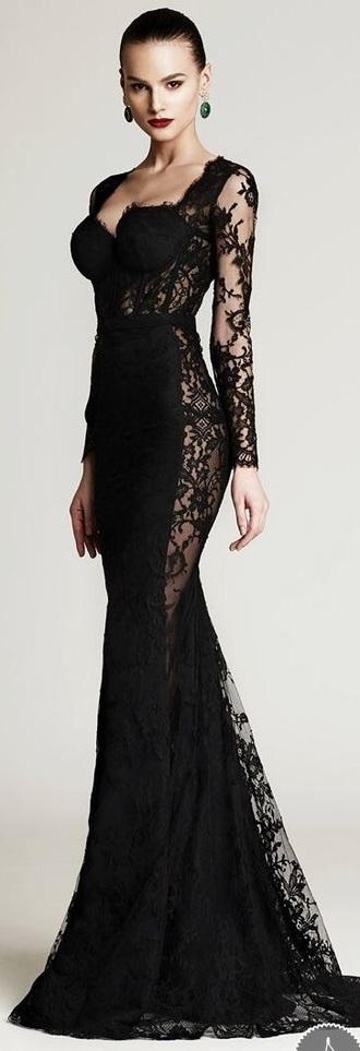 dress black dress long dress lace dress long sleeve dress