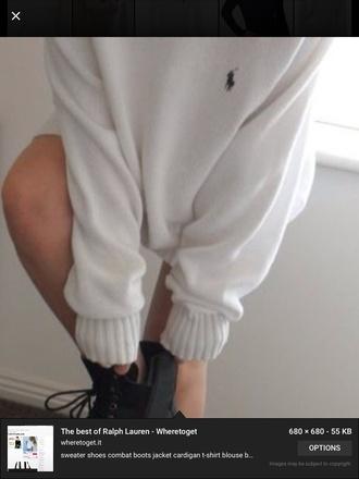 sweater white ralph lauren baggy jumper