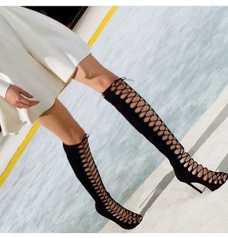 shoes style fashion cute high heels high heels 5 inch and up lace up knee high boots black high heels black heels peep toe boots
