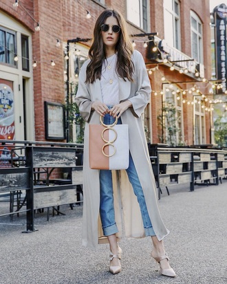 coat grey coat duster coat sunglasses denim blue jeans top white top heels jeans