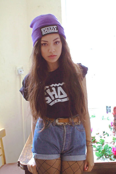 hat beanie purple denim shorts high waisted tank top t-shirt shade?? dope brand colorful material title name stores price top leggings tights belt