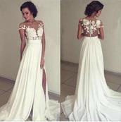 dress,wedding dress,white long dress,white dress,lace,long dress,white,formal dress,lace dress,sexy,beautiful,angel,flowers,cut-out dress
