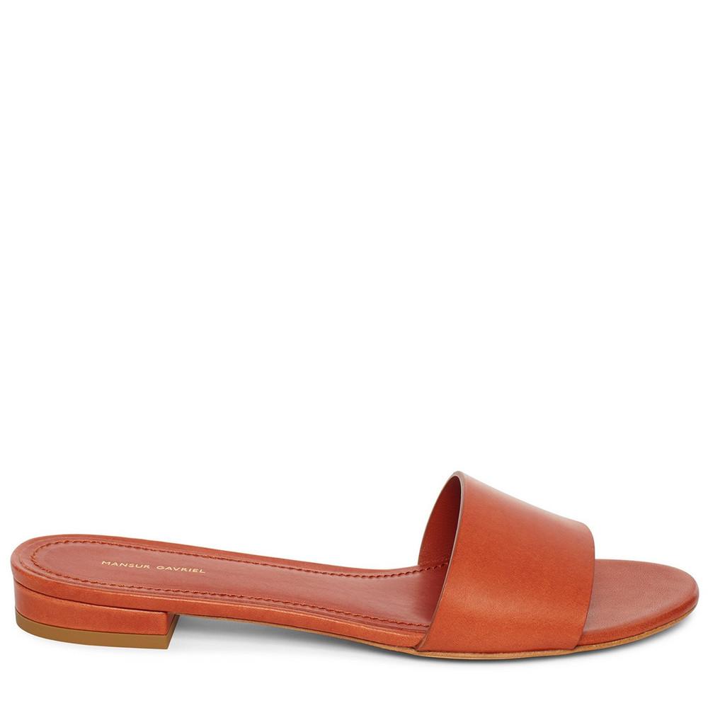 Mansur Gavriel Vegetable Tanned Flat Single Strap Sandal - Brandy
