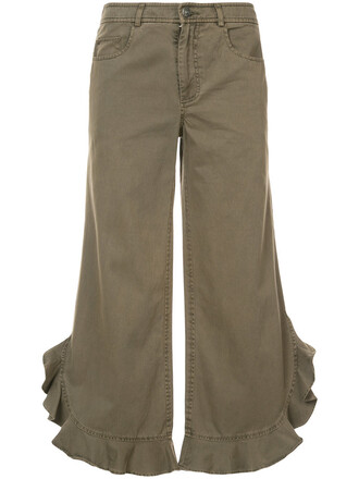 ruffle women cotton green pants