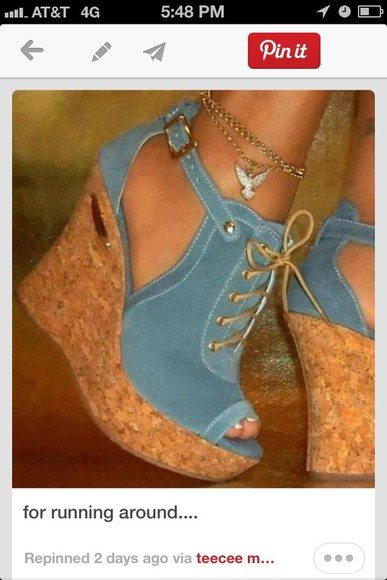 shoes lace up blue suede wedges