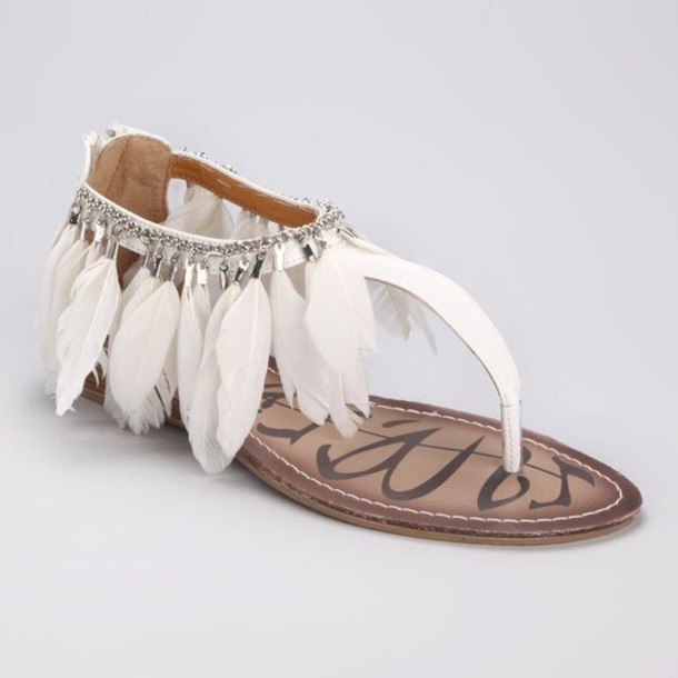 7fc9cee31 shoes sandals feather sandals feathers feathers flats flat sandals boho  boho shoes white white sandals white