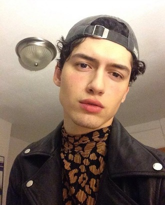 shirt black and brown turtleneck leopard print menswear instagram famous black and gold