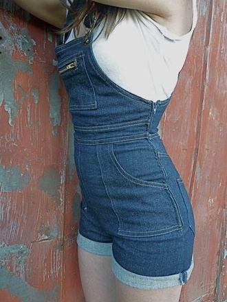 overalls romper denim shorts