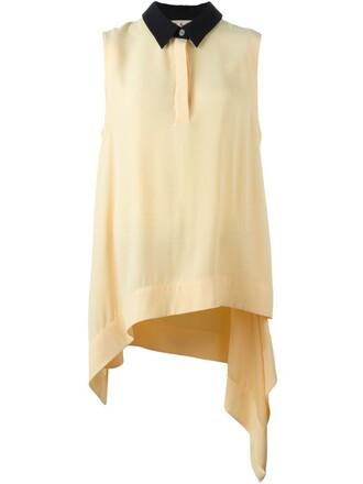 blouse sleeveless draped yellow orange top