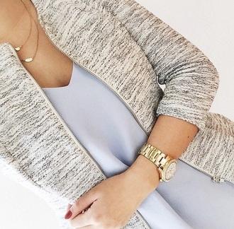 coat tweed blazer cardigan blouse jewelry classy