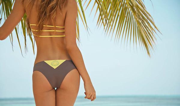 swimwear bikini yellow grey cheeky cheeky bikini strappy bikini bandeau bikini bandeau bikini top bikini bottoms