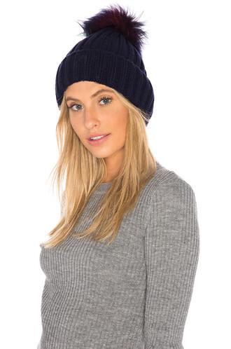 fur faux fur beanie navy hat