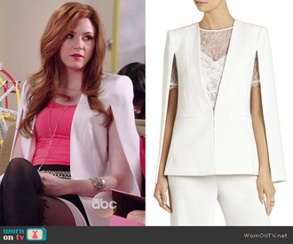 fashion blazer jacket white cardigan eliza selfie selfie abc worn on tv tv show tv series tv fashion celebrity style celebrity celebrity style boutique celebrity jacket bcbgmaxazria cape cape sleeves coat karen gillan karen gillian white cape white blazer abc abc family