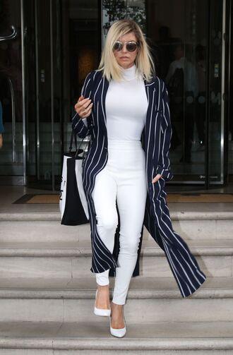 pants white pants top fergie coat pumps skinny pants