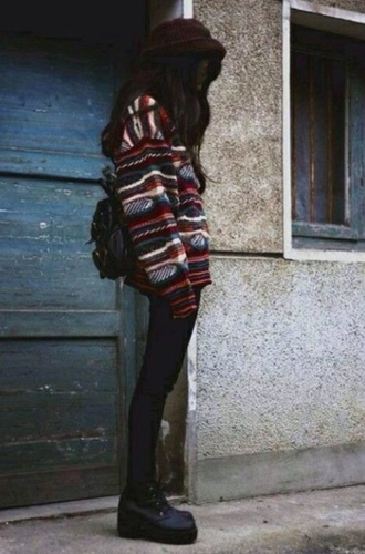 faded grudge hipster soft grudge alternative tribal pattern oversized sweater jeans shoes