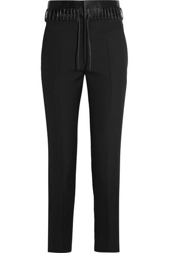 pants lace black wool satin