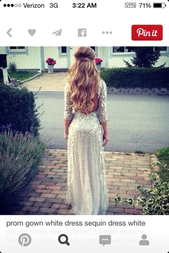 dress 3/4 sleeve clothes prom dress white dress white sequin 3/4 sleeve long sleeve dress long dress long prom dress
