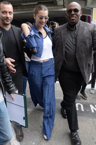 pants wide-leg pants celebrity model off-duty bella hadid top jacket denim streetstyle cannes