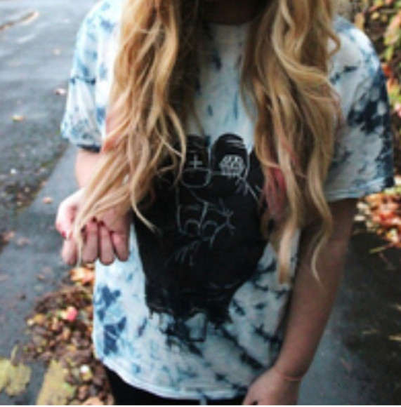 blue tie dye shirt crew neck tshirt black